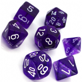 Purple & White Translucent Polyhedral 7 Dice Set